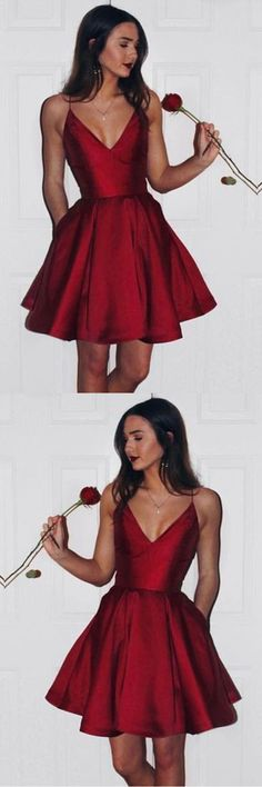 Burgundy Cute Simple Spaghetti Straps Homecoming Dress Party Dress PG125,Homecoming Dresses,Party Dresses,Prom Dresses,Evening Dresses,Short Prom Dresses