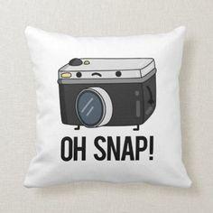 Shop Oh Snap Cute Camera Pun Throw Pillow created by punnybone. Cute Camera, Retro Camera, Cute Puns, Funny Puns, Photography Puns, Kid Puns, Photographer Humor, Pun Gifts, Kids House