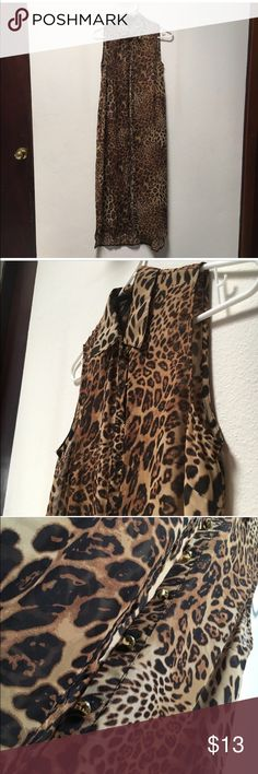 Make an offer! Cheetah Print Tunic Top Gold button closure, good for a top over leggings or jeans, as a vest or beach cover up! Tops Tunics