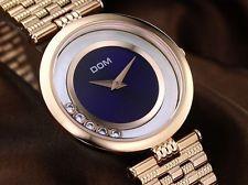DOM luxury brand slim women rhinestone dress watch stainless steel gold fashion.