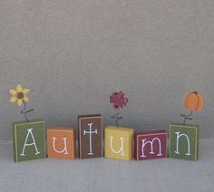 Autumn Block Set For Fall, Shelf, Mantle,office, Seasons, Home, And Holiday…