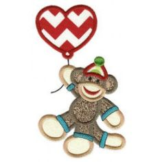 ZDBJJ579-3 Valentine Sock Monkeys Applique-Single