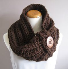 Cowl Chunky Bulky Button Crochet Cowl:  Brown with Brown Wood Button