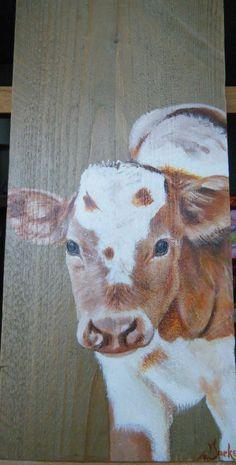Lief roodbont kalfje op steigerhout geschilderd met Acryl. Ineke Nolles