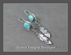 Burtis Blue Turquoise Hand Fabricated Silver Feather Earrings  by AztecaDesignsBoutique, $169.00 USD