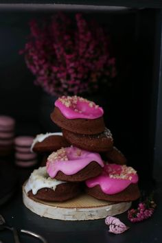 chocolate macadamia donuts with beetroot or vanilla glaze