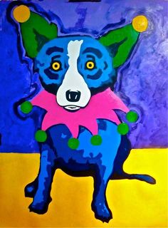 "George Rodrigue's Blue Dog says ""Happy Mardi Gras!"" One of my fave artists. It is on my bucket list to get one of his paintings!!"