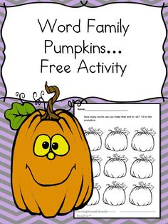 halloween word family fun word family pumpkins how many words can you make that end - Fall Worksheets For First Grade