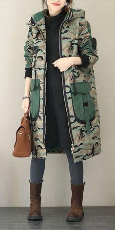 Women Fashion Hoodie Camouflage Thicken Long Coat - Home Fashion 101, Hijab Fashion, Trendy Fashion, Winter Fashion, Fashion Outfits, Womens Fashion, Fashion Trends, Cheap Fashion, Fashion Clothes