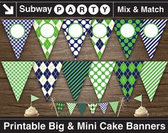 """Printable Golf Party Banner. 7"""" Big Party Banner & 1"""" Mini Cake Bunting. Navy Blue, Green Argyle. Add You Text / Photo DIY. INSTANT DOWNLOAD"""