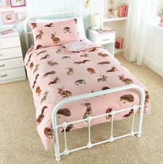 Details About New Pink Woodland Animals Bunny Rabbit Hedgehog Squirrel Single Duvet Cover Set