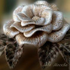 Купить Брошь.Вышивка.Роза беж. - брошь, брошка, роза, украшение, цветок, цветы, розочка