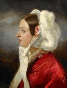 Only child of Prince Edward Augustus Duke of Kent (1767-1820) & Princess Victoria (Marie Luise Viktoria) (1786–1861) of Saxe-Coburg & wife of  Prince Albert of Saxe Coburg & Gotha (1819-1861). Queen Victoria (Alexandrina Victoria) (1819-1901) by Charles Lucien Louis Muller. She was interested in the improvement of relations between France & Britain. She made & hosted several visits between the British royal family & the House of Orleans that were related by marriage through the Coburgs.