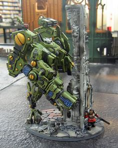 A friend of mine did this little Tau Riptide diorama recently while we were painting models together at our local Games Workshop Bowie store … Warhammer 40k Art, Warhammer Models, Warhammer 40k Miniatures, Star Trek Enterprise, Star Trek Voyager, Tau Army, Fire Warrior, Miniaturas Warhammer 40k, Tau Empire