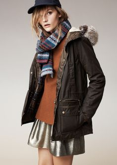 Madewell Barbour® Kelsall parka, elbow-patch stadium sweater and the shimmer skirt.