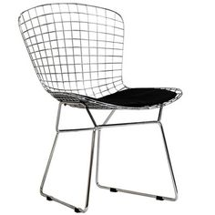 CAD Wire Dining Side Chair Chrome Steel Frame Accent Chair in Black