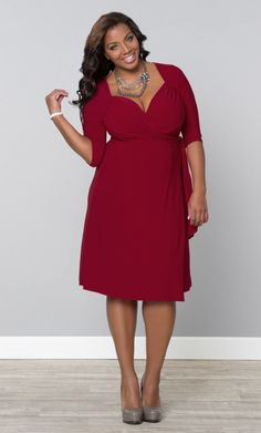 Plus Size Red Wrap Dress at Curvalicios Clothes Ultra figure flattering #plussize #curvy #fashion