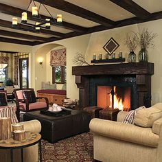 This would be great around your fireplace!  This reminds me of your house--can tell it's an older house but it's sort of rustic and looks way cool