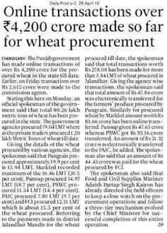 Punjab Government spent Rs 4200 crore for wheat procurement. #AkalisforPunjab #ProudtobeAkali #WeSupportSAD #ShiromaniAkaliDal
