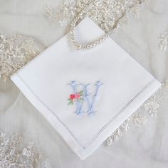 Rose monogram in blue. Customize with any color combination for handkerchiefs, dinner napkins, and towels.