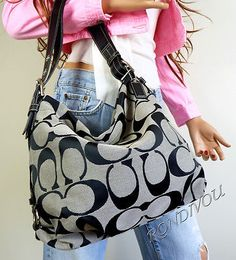 coach purses discount outlets yfrt  Coach Black Gray Signature Shoulder Crossbody Med Hobo Style Tote Bag Purse   eBay