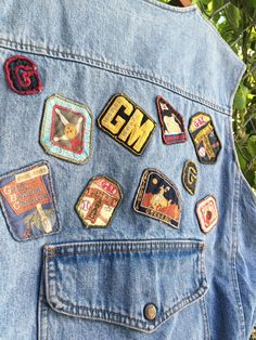 Vintage 1989s Guess  Jeans Patchwork Light Wash Denim Vest Made in the USA  Size Large 7ac47471c0e8