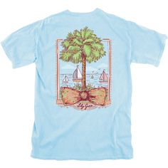 Showing our South Carolina pride with our preppy Palmetto bow shirt.This preppy nautical shirt is perfect for a day on the beach in Charleston orhanging out athome. The shirt features a bow and palmetto tree with a beach scene and sailboats in the background.