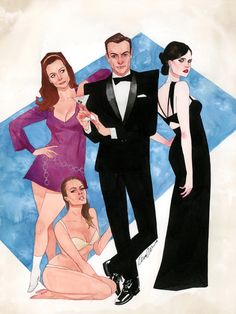 kevin wada illustration: James Bond posters.  Beauties and Baddies. A...