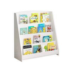 Single-Sided Bookcase Display Stand for Kids - White