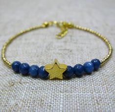 Gold Star Bracelet Dark Blue Gemstone Bracelet Stone