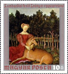 Sello: Lady with Unicorn (Hungría) (Paintings from Christian Museum, Esztergom) Mi:HU Unicorn Painting, Postage Stamps, Museum, Christian, Lady, Gallery, Europe, Hungary, Stamps