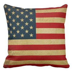 AMERICAN VINTAGE FLAG THROW PILLOW - vintage gifts retro ideas cyo