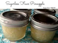 Sugarless Faux Pineapple (Sugar Free, THM FP) replaces crushed pineapple with Zucchini, water & pineapple flavoring to keep glucose spikes down. Low Carb Sweets, Low Carb Desserts, Healthier Desserts, Healthy Sweets, Healthy Sugar, Healthy Snacks, Diabetic Recipes, Low Carb Recipes, Free Recipes