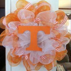Wreath Tennessee Vols Door Deco Poly Mesh Orange Geo 25 inch Tenn Volunteers   eBay