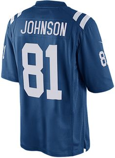 Do a double shout-out to the Indianapolis Colts and Andre Johnson with this Nike NFL Game jersey. This replica sports the player's number on both sides, with his last name featured across the back. V-neckline with TPU shield Short sleeves Screen print player number at front Screen print team graphics and Nike swoosh logos at sleeves Screen print player name and number at back Jock tag at hem Tagless Officially licensed Game day jersey Polyester Machine washable