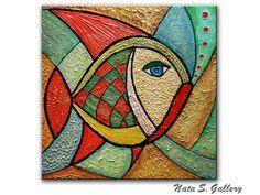 Original Fish Painting Abstract Textured Art by NataSgallery