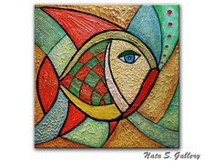"Original Abstract Fish Painting.Heavy Textured Fish Painting.Sculptural Fish.Modern Fish Painting 24"" x 24"" Ready to Ship - by Nata S"