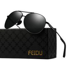 4a61d5ddc FEIDU Mens Polarized Aviator Sunglasses Metal Frame Unisex Sun Glasses  FD9001. Óculos De Sol ...