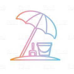 Vector illustration of a Beach umbrella Summer party Flat Simple. Label Design, Icon Design, Outline Designs, Summer Icon, Beach Umbrella, Free Beach, Book And Magazine, Free Vector Art, Identity Design