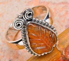 Natural Tourmaline Carved Leaf, Sterling Ring size 6.5  http://mandala.ecrater.com/p/15125591/natural-tourmaline-carved-leaf-sterling