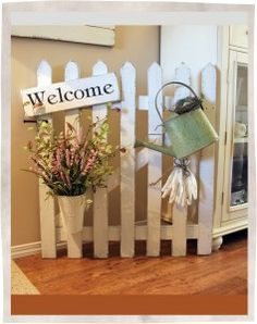 picket-fence-welcome.jpg × - picket-fence-welcome.jpg × The Effective Pictures We Offer You About iron fence A qua - Picket Fence Crafts, Diy Fence, Picket Fences, Fence Ideas, Fence Post Crafts, Porch Ideas, Picket Fence Headboard, Picket Gate, Wooden Fence