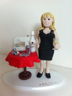 """""""Mum"""" Fimo Cake Topper - Woman with sewing machine"""
