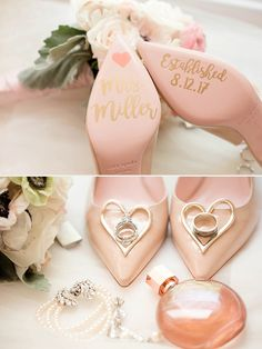 gorgeous blush pink wedding shoes with custom decals