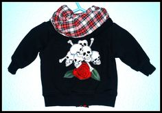 Boys Rockabilly Hoodie with Skulls n Bones....size 3 months by DollfaceBettys on Etsy