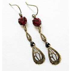 Downton Abbey Inspired Jewellery (£21) ❤ liked on Polyvore featuring red crystal jewelry, flapper jewelry, victorian jewelry, red prom jewelry and crystal jewellery