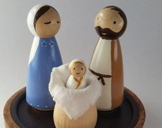 Simple Peg Doll Nativity// Holy Family// Wooden Toy