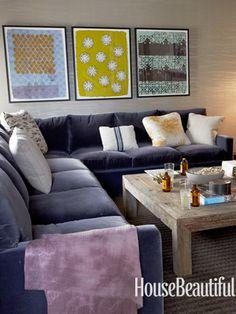 Velvet sectional. Design: Parrish Chilcoat and Joe Lucas. housebeautiful.com. #sectional #sofa