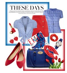 """These days in Blue&Red"" by pomy22 on Polyvore featuring FAY, Courrèges, QED London, Vivienne Westwood, Mulberry, Wet Seal, Ralph Lauren, Estée Lauder, red and Blue"