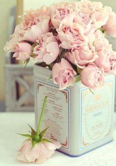 Harney & Sons tea tin as a vase - bridal shower tea idea!
