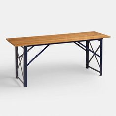 """Peacoat Beer Garden Dining Table World Market Fold for Storage $229 Overall: 72""""W x 24""""D x 29.9""""H, 31 lbs.  Floor to bottom of table: 28""""H  Between legs on side: 55.51""""W SKU#518822"""